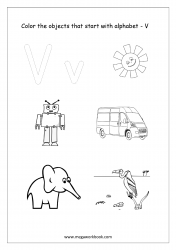 English Worksheet - Color Only The Objects Starting With Alphabet V