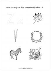 English Worksheet - Color Only The Objects Starting With Alphabet Z