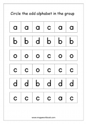 English Worksheet - Confusing Alphabets (Circle The Odd One Out)
