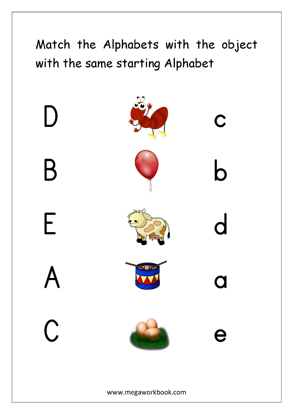 Worksheet Matching Alphabets With Pictures Worksheets free english worksheets alphabet matching megaworkbook worksheet match object with the starting smallcapital letters