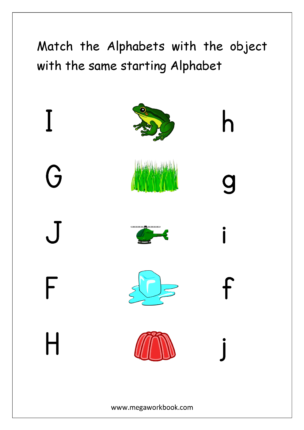 Alphabet Matching on Writing Worksheets