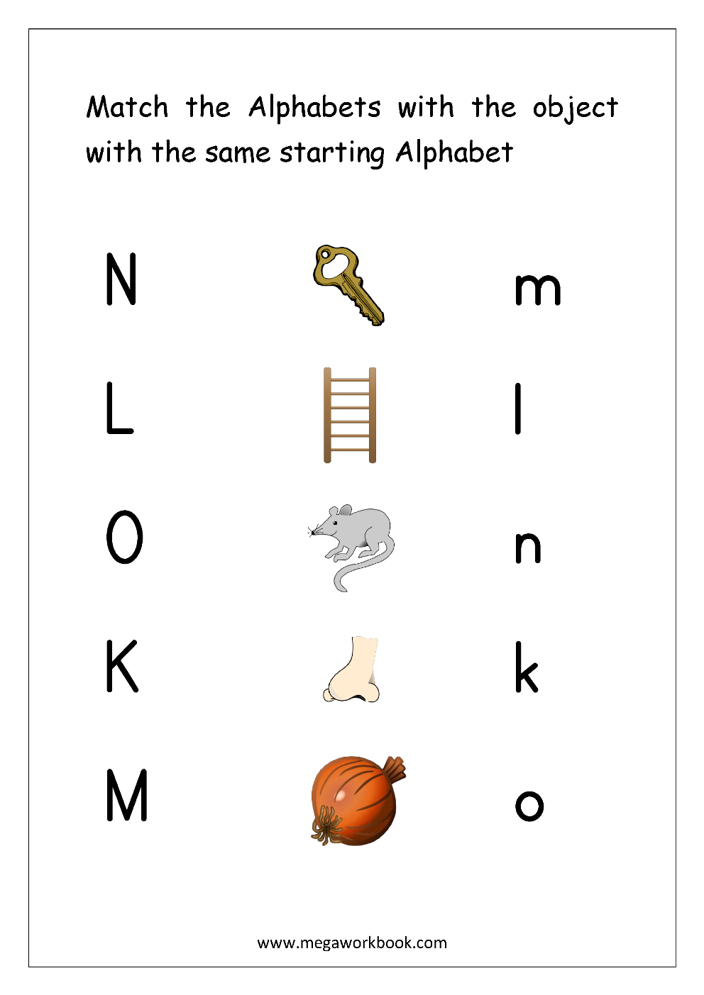free english worksheets - alphabet matching