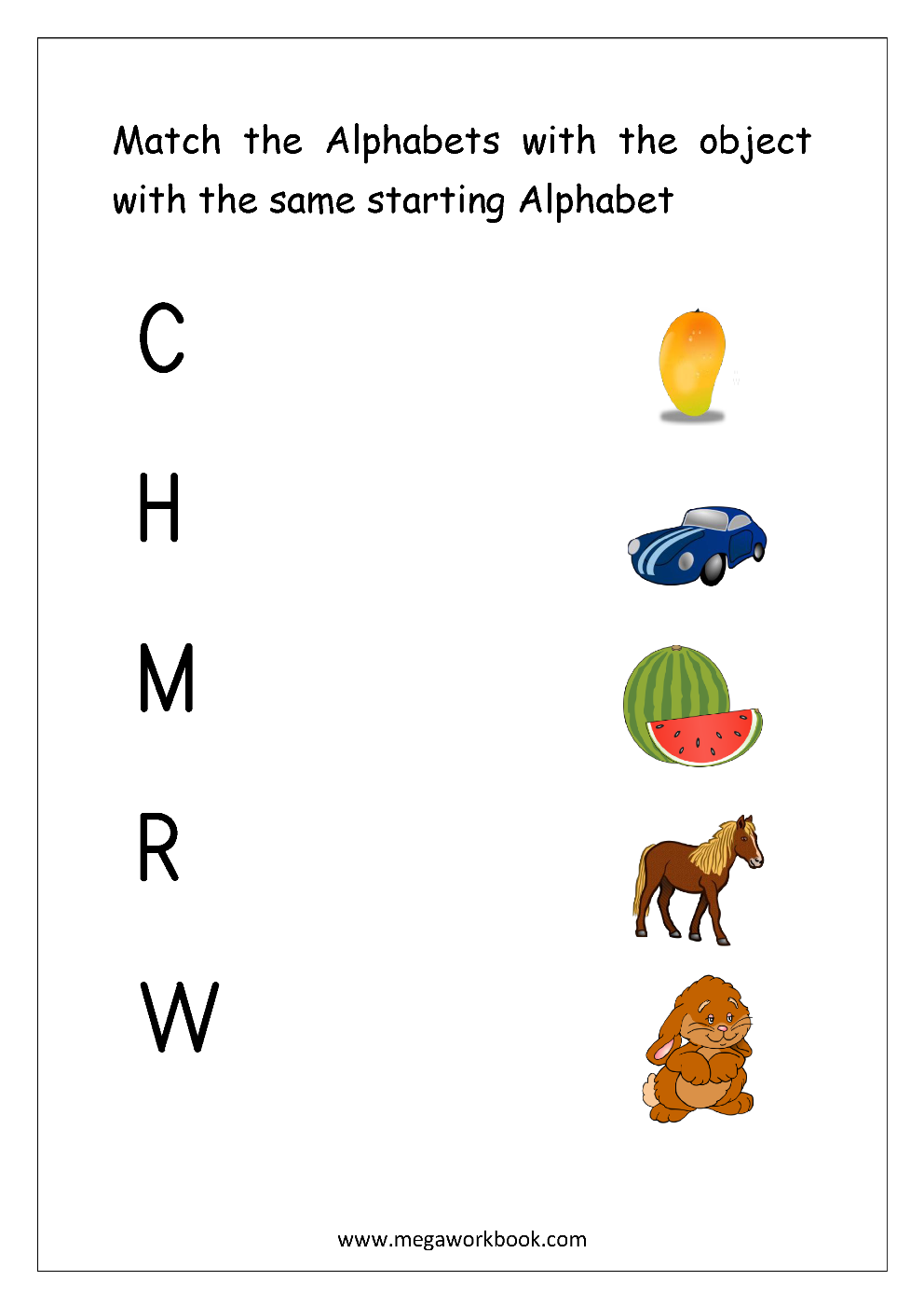 Free English Worksheets - Alphabet Matching - MegaWorkbook