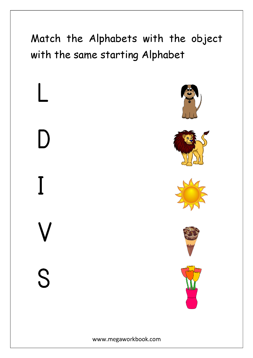 Free English Worksheets Alphabet Matching Megaworkbook