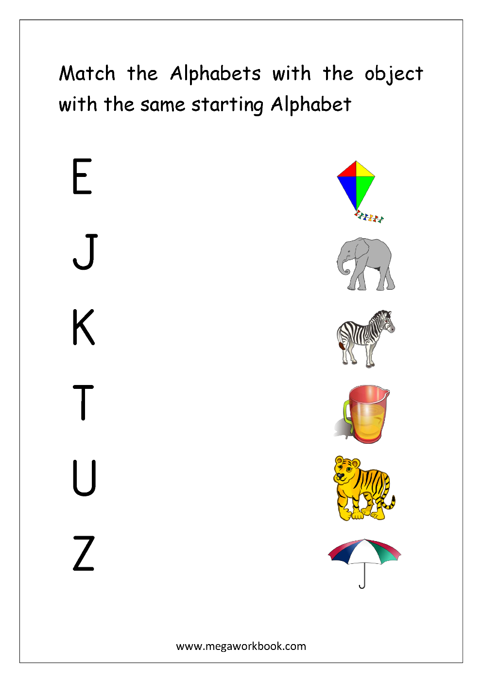 Worksheet Matching Alphabets With Pictures Worksheets free english worksheets alphabet matching megaworkbook worksheet match object with the starting capital letters