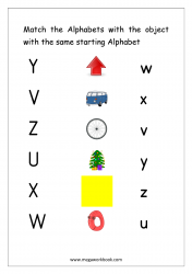 Worksheet - Match Object With The Starting Alphabet (Small/Capital Letters)