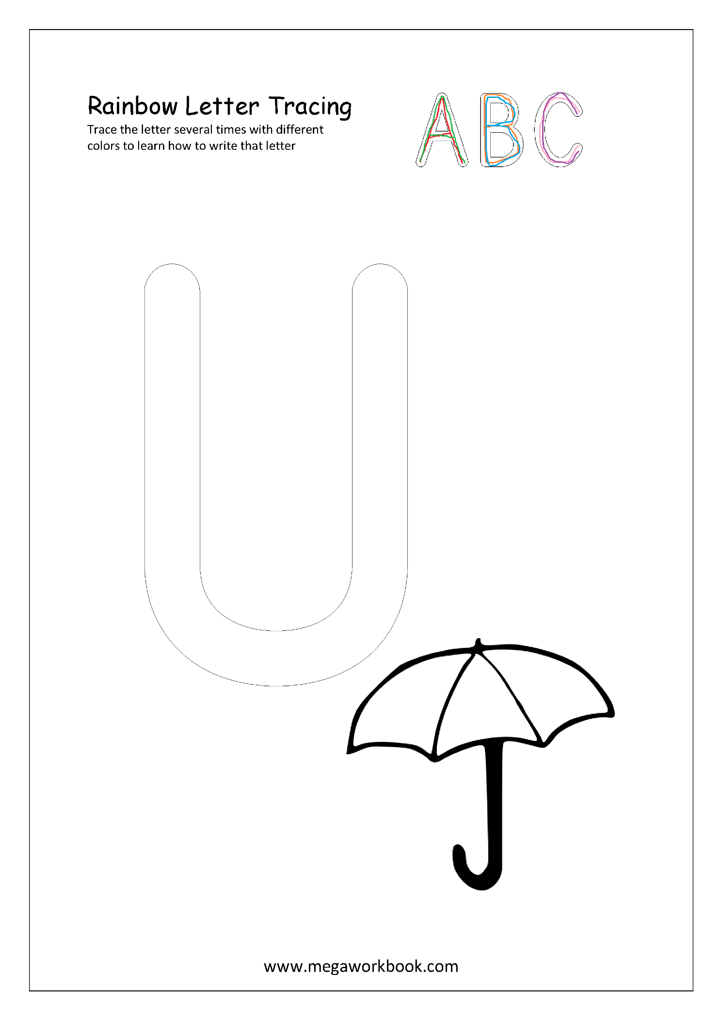 Free Printable Rainbow Writing Worksheets Rainbow Letter