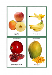 Fruits Flash Cards - Apple, Banana, Pomegranate, Mango