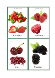 Fruits Flash Cards - Strawberry, Raspberry, Cherry, Blackberry