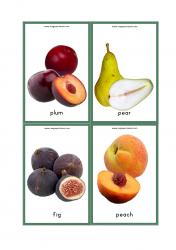 Fruits Flash Cards - Plum, Pear, Fig, Peach