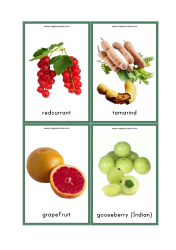 Fruits Flash Cards - Red Current, Tamarind, Grapefruit, Indian Gooseberry(Amla)