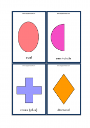 Shapes Flashcards - Oval, Ellipse, Semi-Circle, Cross (Plus), Diamond Flash cards