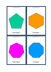 Shapes Flashcards - Kindergarten Printables - Pentagon, Hexagon, Heptagon, Octagon