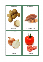 Vegetables Flash Cards - Potato, Sweet Potato, Onion, Tomato