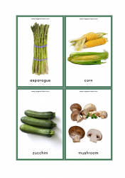 Vegetables Flash Cards - Asparagus, Corn, Zucchini, Mushrooms