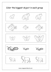 Big And Small Worksheet 10 - Color The Biggest Object In The Group (Animals Theme)