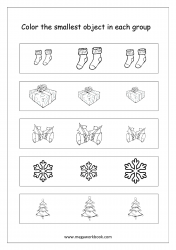 Big And Small Worksheet 03 - Color The Smallest Object In The Group (Christmas Theme)