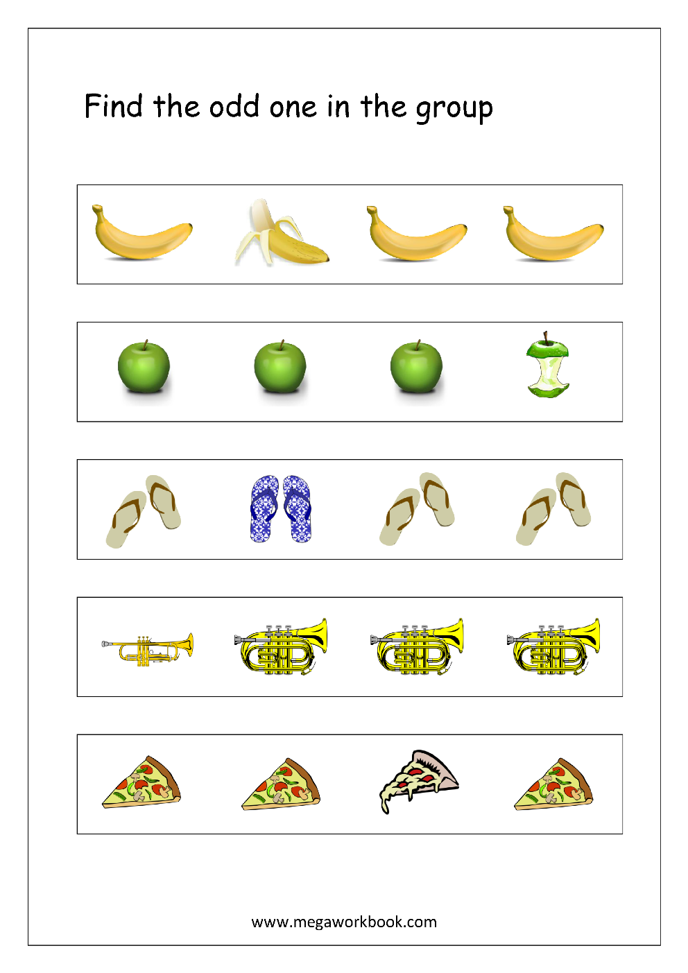 Free Printable Odd One Out Worksheets - Logical Thinking ...