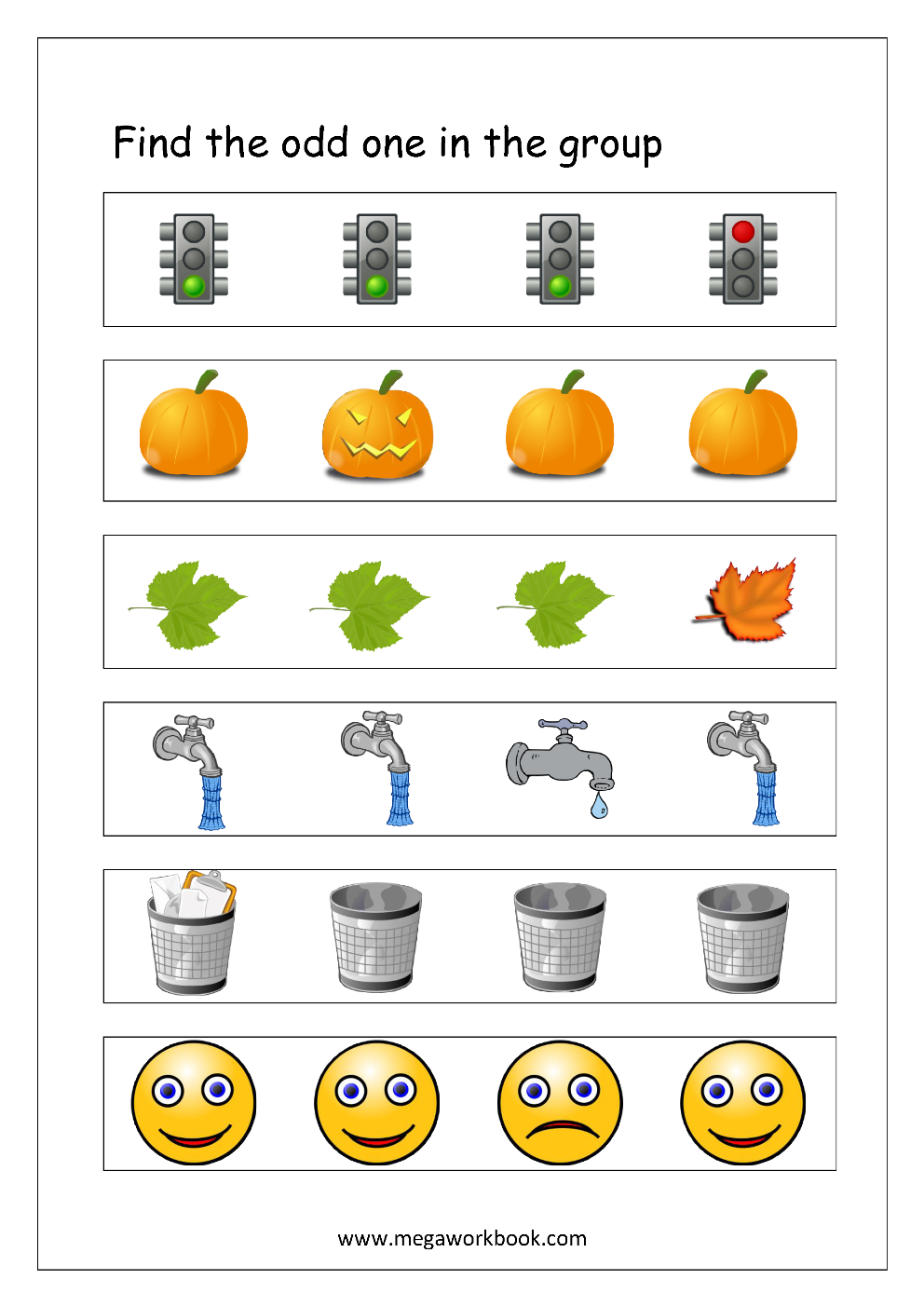 Free Printable Odd One Out Worksheets   Logical Thinking ...
