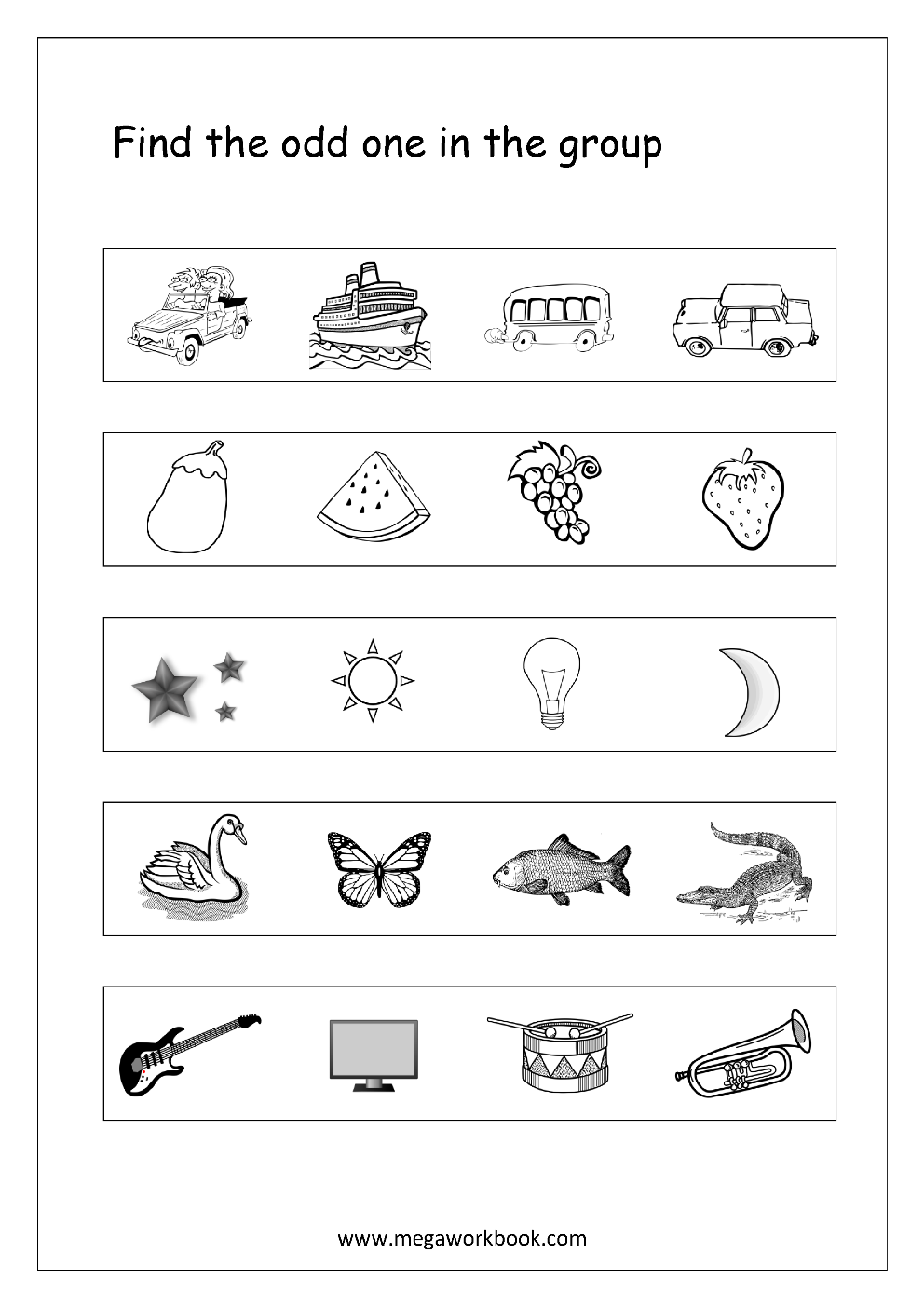 Free Printable Odd One Out Worksheets