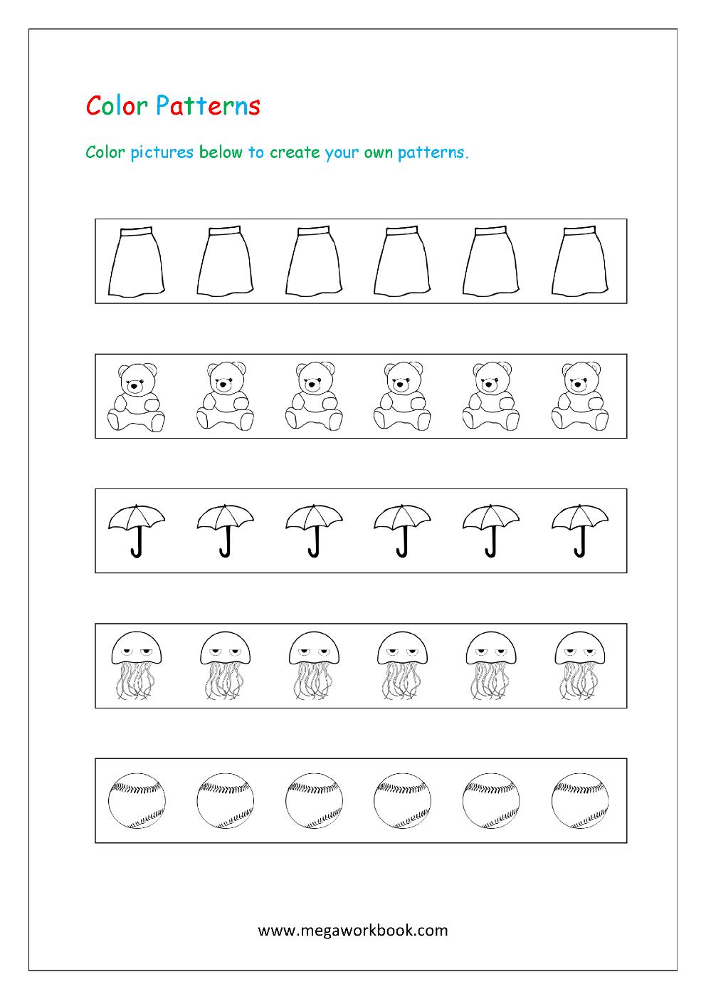 - Pattern Worksheets For Kindergarten - Color Patterns - Growing
