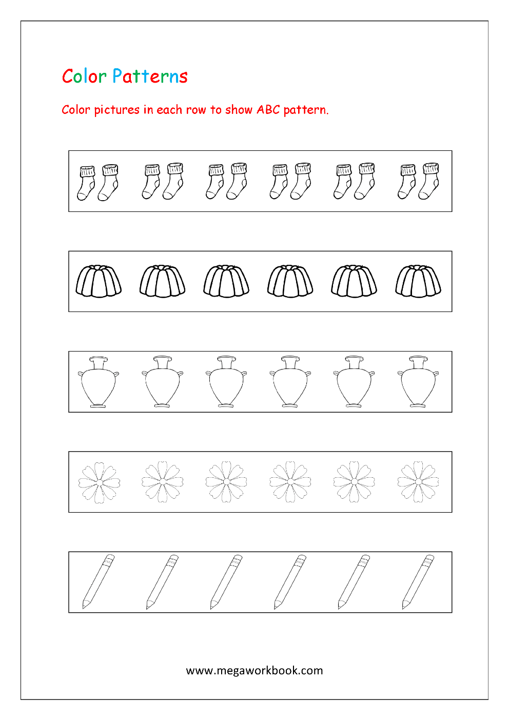 Pattern Worksheets For Kindergarten Color Patterns