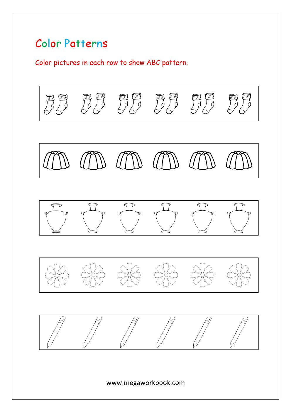 pattern worksheets for kindergarten color patterns growing patterns decreasing patterns. Black Bedroom Furniture Sets. Home Design Ideas