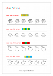 Color Pattern Worksheet - Repeating Patterns (AB, ABC, AABB, ABB)