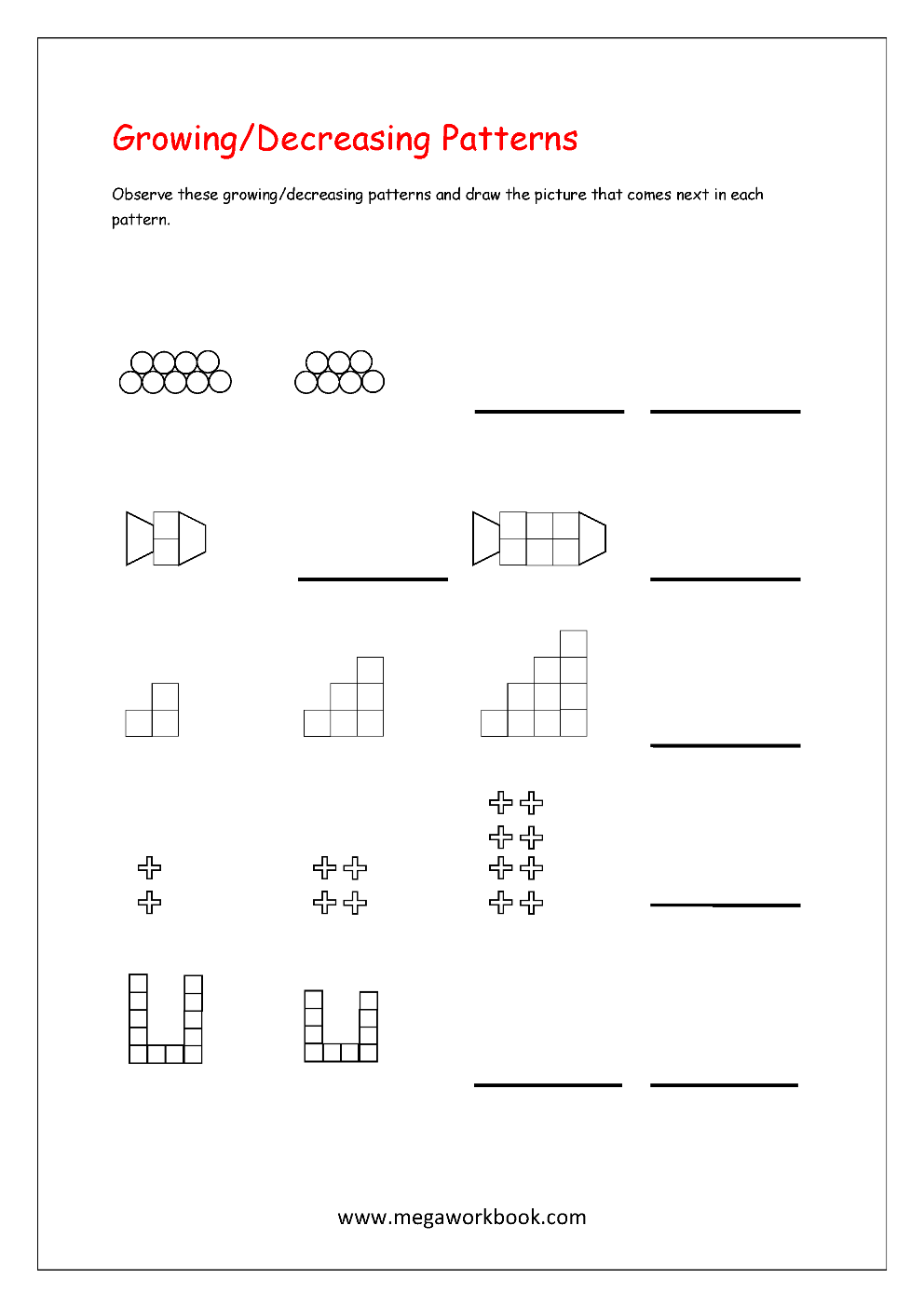 pattern worksheets for kindergarten color patterns growing patterns decreasing patterns. Black Bedroom Furniture Sets. Home Design Ideas