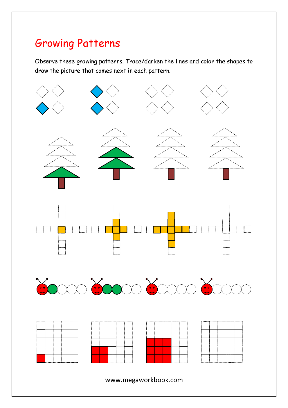 Growing Picture Patterns Worksheet on color by number coloring pages for preschool