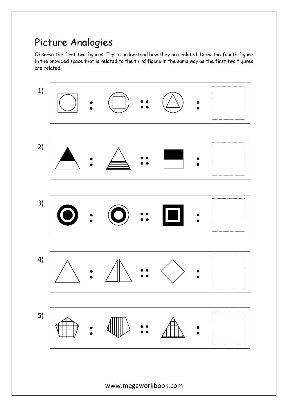 Free Printable Picture Analogy Worksheets - Logical Reasoning