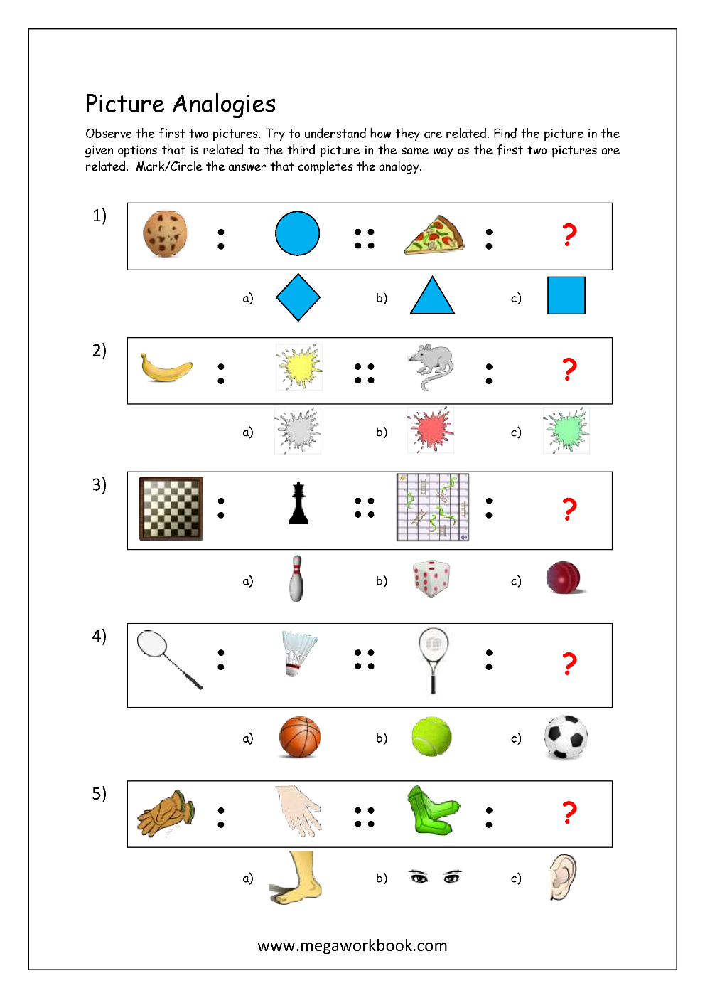 Free Printable Picture Analogy Worksheets - Logical