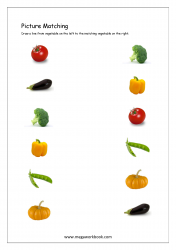 Picture Matching Worksheet - Vegetable Themed