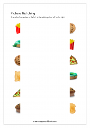 Picture Matching Worksheet - Match Picture To Other Half (Food Themed)