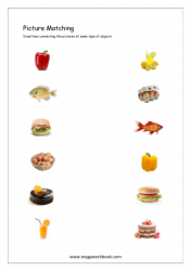 Picture Matching Worksheet - Match Same Type Of Objects (Food Themed)
