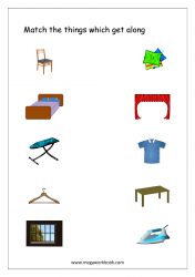 Match The Things That Get Together (Household furniture)- Free Printable Worksheet