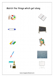 Match The Things That Get Together (Stationary) - Free Printable Worksheet