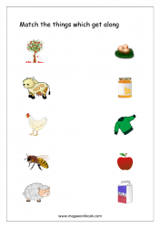 Match The Things That Get Together (Animals/Plants Products) - Free Printable Worksheet