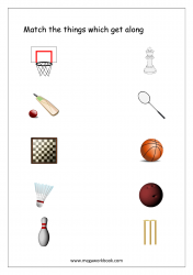 Match The Things That Get Together (Sports/Games) - Free Printable Worksheet