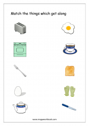 Match The Things That Get Together (Kitchen Items) - Free Printable Worksheet