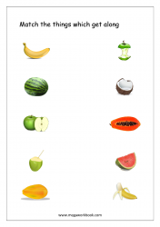 Match The Things That Get Together (Fruits) - Free Printable Worksheet