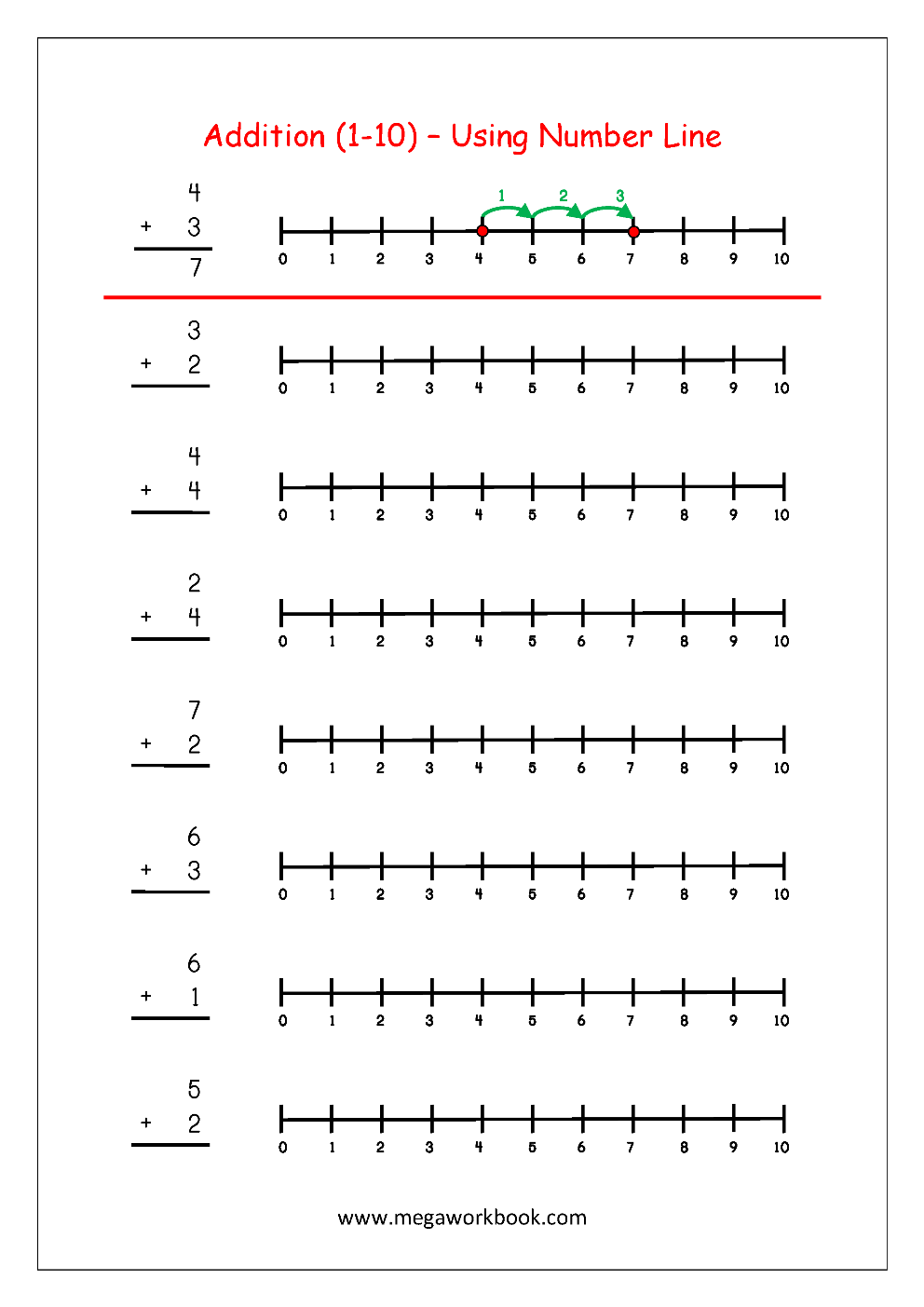 Worksheet Adding Using A Number Line free math worksheets number addition megaworkbook worksheet using line 1 10