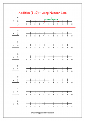 Math Printable Worksheet - Addition Using Number Line (1-10)
