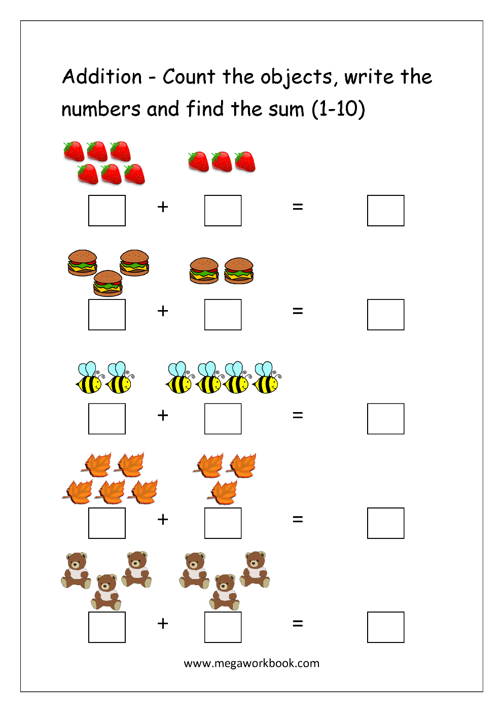 free printable number addition worksheets  for kindergarten  math printable worksheet  single digit addition with picturesobjects