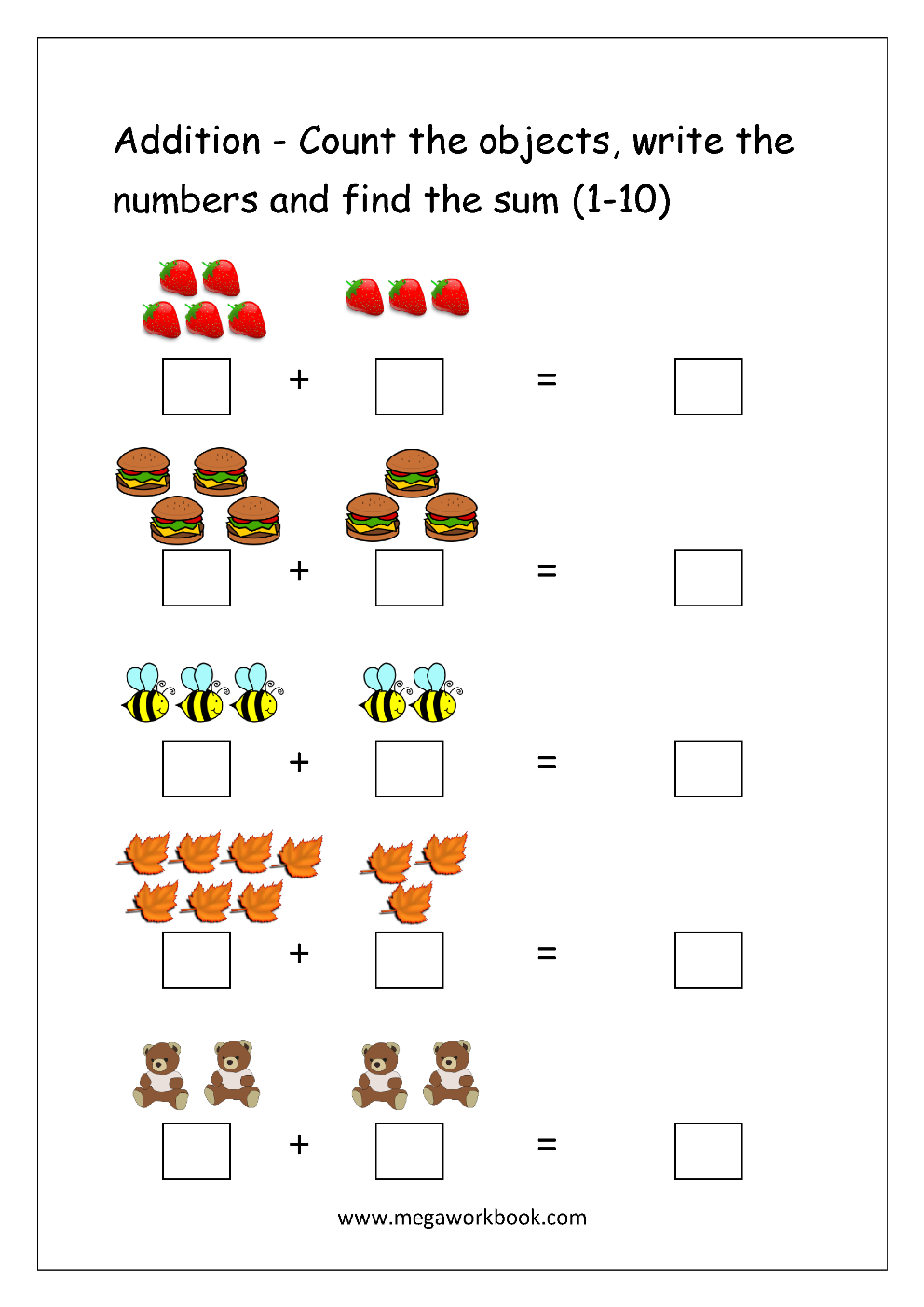 Addition Worksheets 1 10 Davezan – Addition to 10 Worksheet