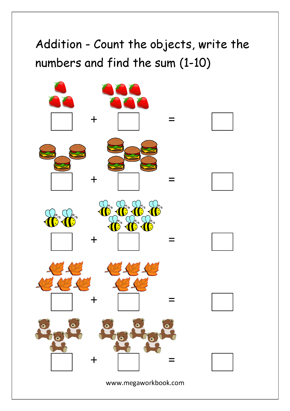 Free Printable Number Addition Worksheets 1 10 For