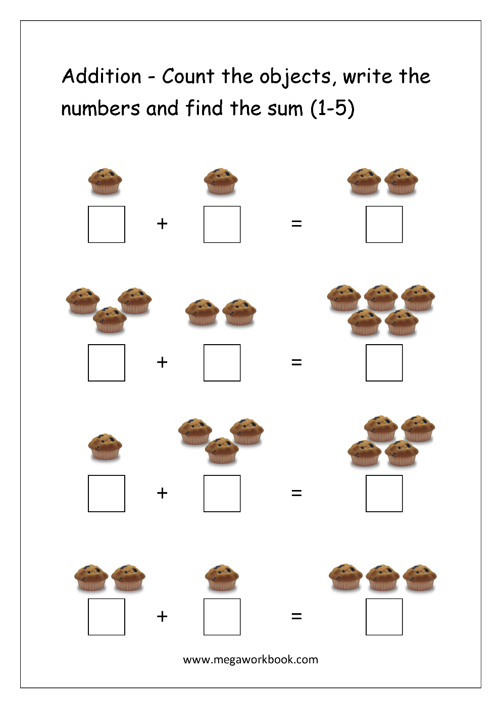 free printable number addition worksheets 1 10 for kindergarten and grade 1 addition on. Black Bedroom Furniture Sets. Home Design Ideas