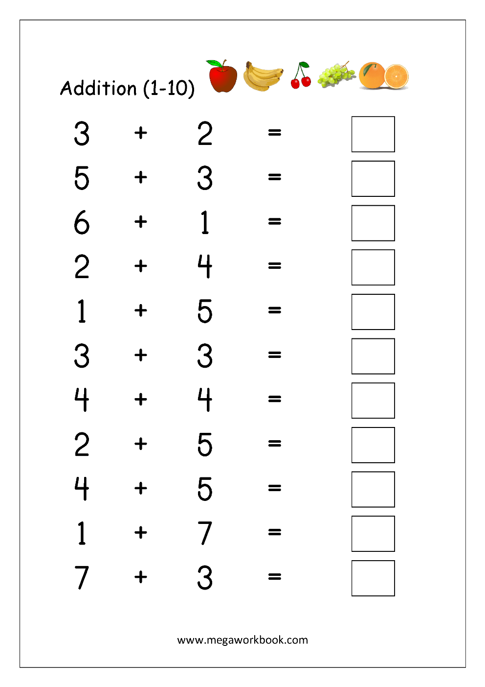 Free Math Worksheets Number Addition MegaWorkbook – Addition to 10 Worksheet