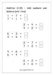 Math Printable Addition Worksheet (1-10) - Commutative Property of Addition