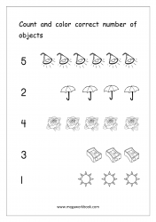 Math Worksheet - Count And Color Correct Number Of Objects (1-5)